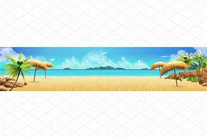Tropical beach. Vector background ~ Illustrations ...