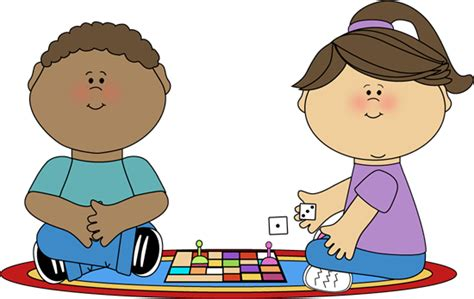 Kids Playing A Board Game Clip Art