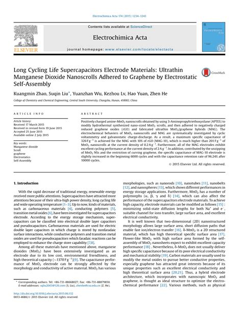 long cycling life supercapacitors electrode materials ultrathin manganese dioxide