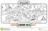 Coloring Road Roads Cars Map Crossings Template Templates Royalty Vector sketch template