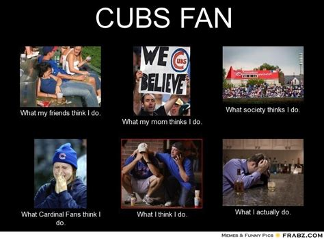 Cubs Memes - cubs fan what people think i do what i really do perception vs fact