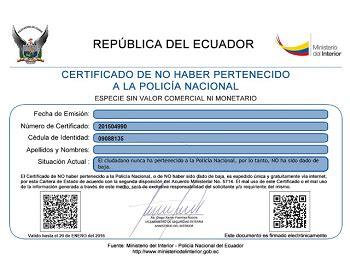 certificado de no haber sido dado de baja de la policia nacional ecuadorlegalonline