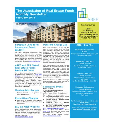 real estate newsletter templates 9 monthly newsletter templates free sle exle format free premium templates