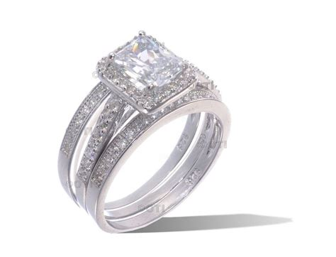 white gold sterling silver emerald cut cz engagement