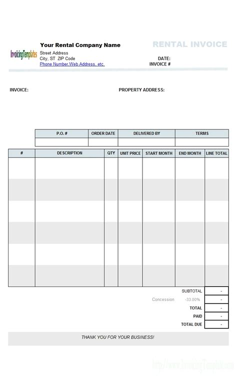 property management invoice invoice template ideas