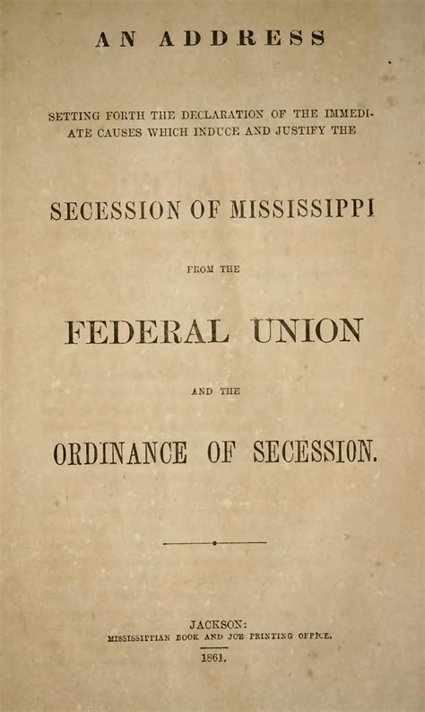 pagemississippi declaration  ordinance  secession