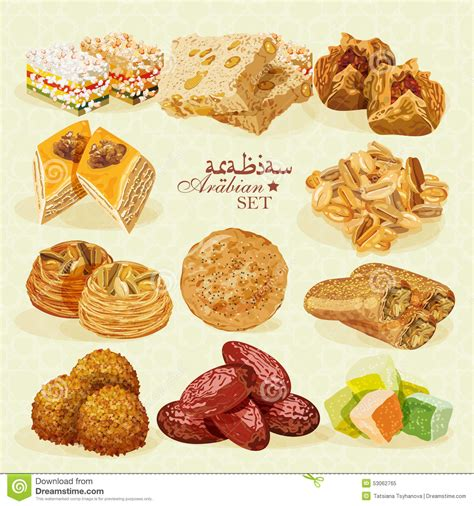 cuisine arabe food set of eastern desserts stock photo image