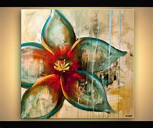 Painting - raw abstract flower painting blue rust acrylic ...
