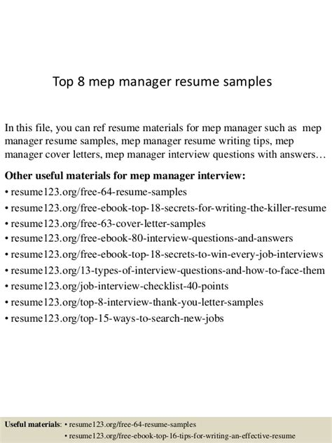 Mep Resume by Top 8 Mep Manager Resume Sles