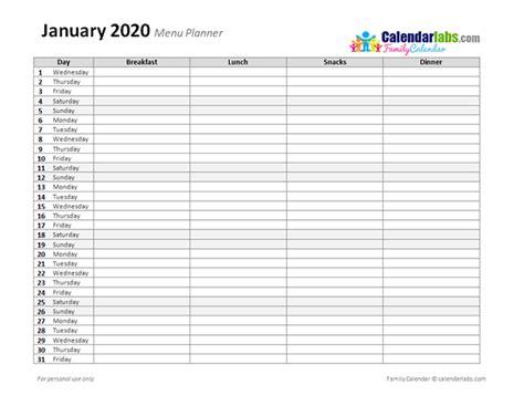 monthly menu planner  printable templates