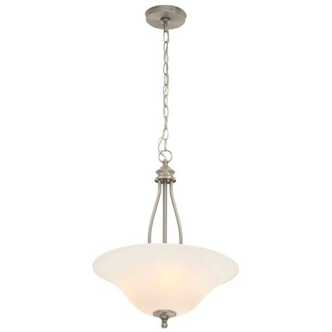 commercial electric 3 light brushed nickel pendant