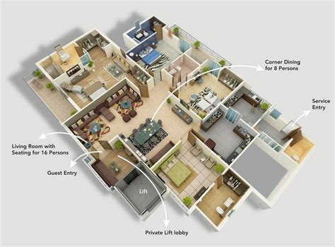 50 four 4 bedroom apartment house plans architecture