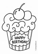 Coloring Birthday Happy Cake Muffin Feierlichkeiten Druckvorlagen sketch template