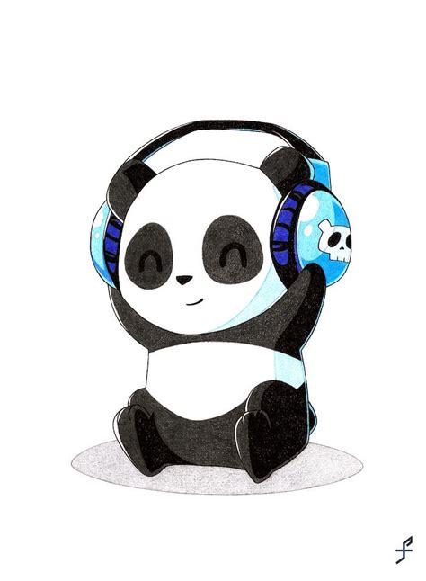 lustige und einfache zeichnungen panda mit den zuhoerern