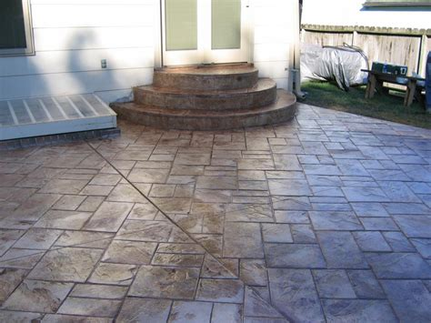 patio and steps done in ashlar slate pattern from concrete