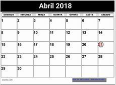 CALENDÁRIO ABRIL 2018 COM FERIADOS PARA IMPRIMIR
