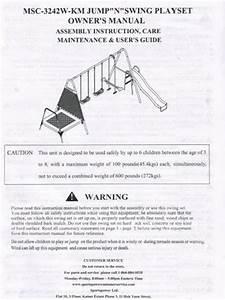 Manual For The Jump N Swing Swingset