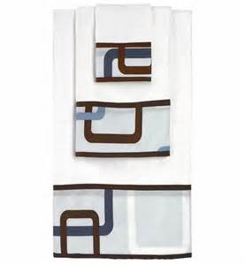 blue and brown geo baby and kids cotton bath towel set