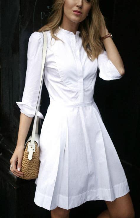 white cotton sheath knee length dress  tuxedo collar