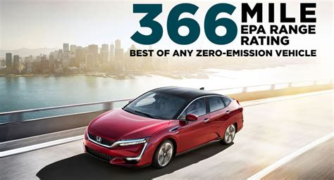 What Electric Car Has The Best Range by New Honda Clarity Fcv Gets An Epa 366 Mile Driving