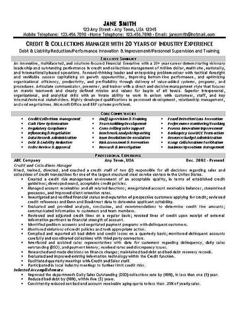 Collections Manager Resume Exles winning resume exle for credit and collections manager or debt collector