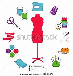 Sewing and Tailoring Icons. Fashion model with tools and ...