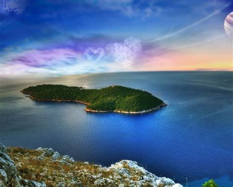 wallpaper fantasy landscape island sea heart shaped