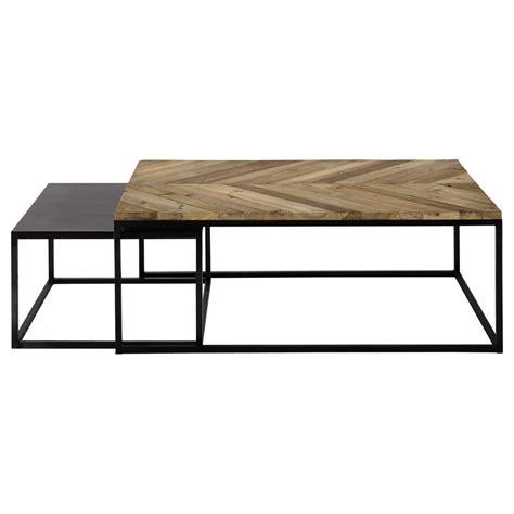 2 tables basses gigognes en bois recycl 233 et m 233 tal l 60 cm et l 120 cm chevron maisons du monde