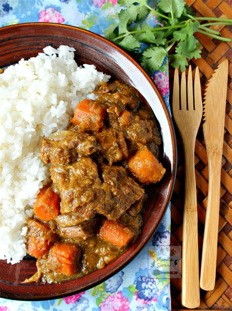 beef curry stew coconut cooker slow recipes rice sauce chunks creamy mouth manilaspoon hearty powder mouthful melt tender recipe cooked