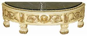 Consigned antique cream gold demilune low profile console for Antique cream coffee table