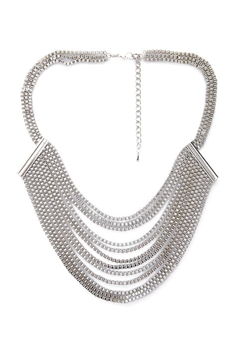 layered box chain bib necklace  silver