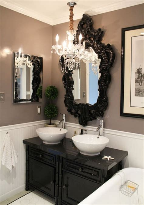 Black And White Chandelier Bedding by Black Rococo Mirror Eclectic Bathroom