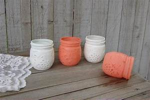 coral and white jelly jars the vintage artistry With kitchen cabinets lowes with jam jar candle holders