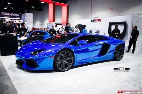 chrome blue lamborghini aventador  sema  cars