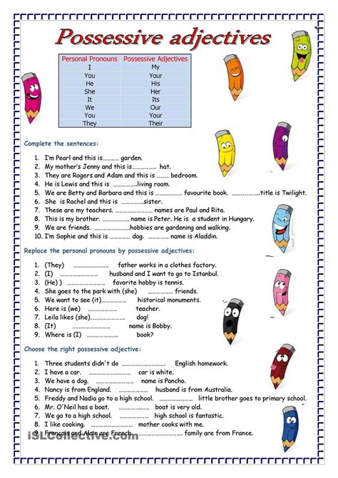 adjectives free esl worksheets language