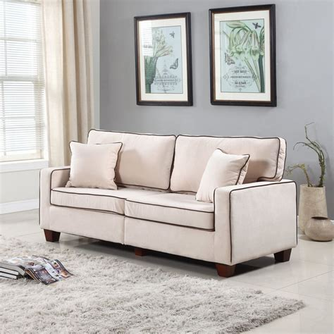 Velvet Loveseat Sofa by Modern Two Tone Beige Velvet Fabric Living Room Seat