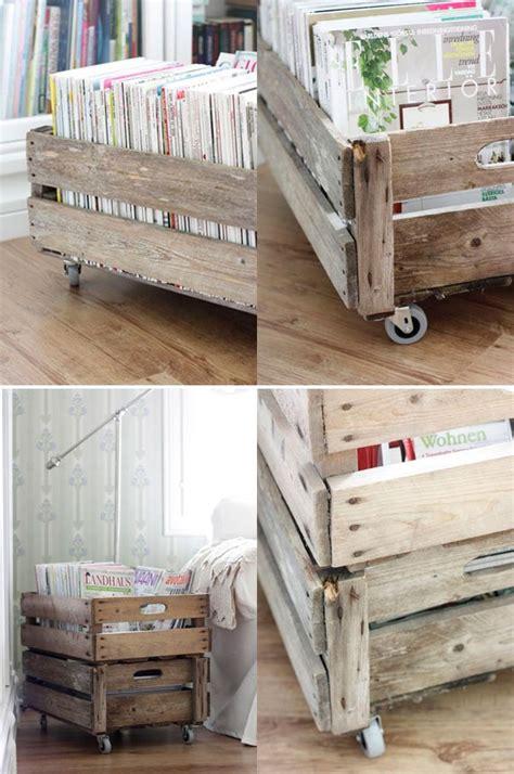 caisse en bois pour decoration ranger ses vinyles mariekke