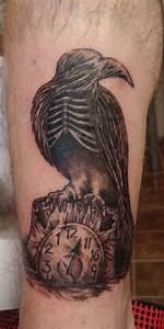 Clock And Crow Skeleton Tattoo