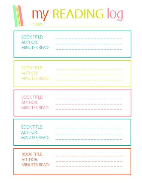 printable reading log for elementary reading logs