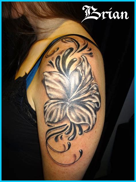gorgeous black flower upper arms shoulder tattoo design