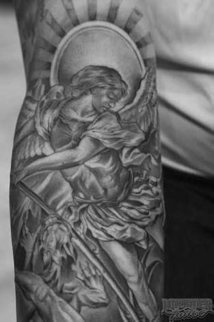 Image result for st michael the archangel tattoo designs | Archangel tattoo, Statue tattoo