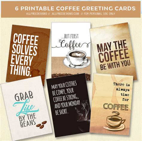 Find & download free graphic resources for coffee visiting card. Coffee Greeting Cards and Printable Tags to Download Free