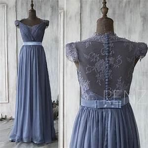 2015 Steel Blue Bridesmaid Dress , Cap Sleeve Lace Wedding ...
