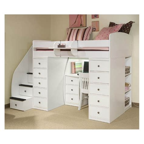 bunk bed with desk and sierra spacesaver loft with desk 2 chests stairway at