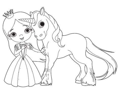 Dibujo De Princesa Y Unicornio Para Colorear  Dibujos De