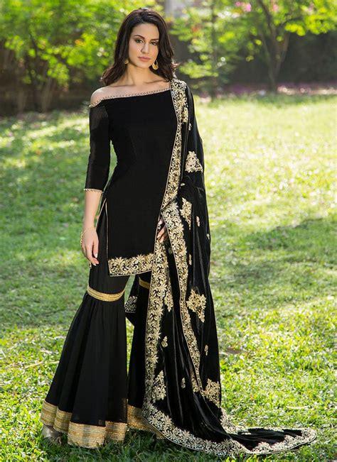 black velvet sharara suit  embroidered shawl dupatta