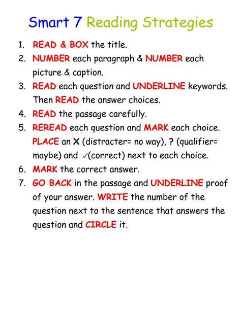 smart  reading strategies  classroom ideas
