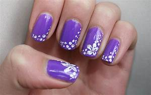 Purple flower nail art | BlackbirdNails