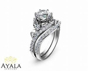 Bridal set 14k white gold diamond ringdesigner engagement for Wedding rings designers