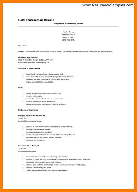 Housekeeping Resume Template by Hospital Housekeeping Resume Resume Format
